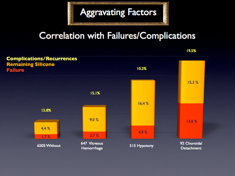 The presence of aggravating factors seems to worsen the final failure rate. For instance, in comparison with the absence of any aggravating factor, the effective failure rate is three times higher for eyes with hypotony. However, these differences might come from the PVR distributions of the aggravating factors.