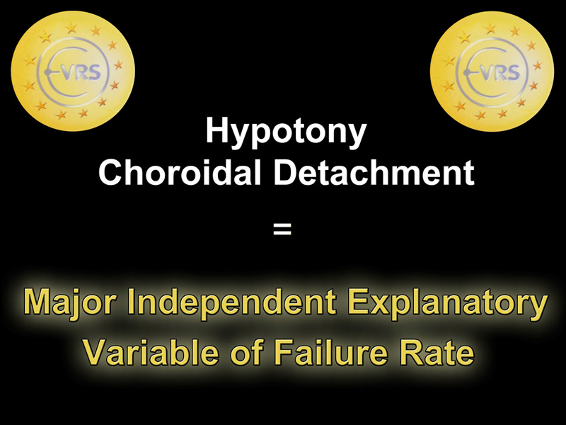 The presence of hypotony or choroidal detachment is thus considered a major independent explanatory variable of the failure rate. This was confirmed by the multivariate analysis.