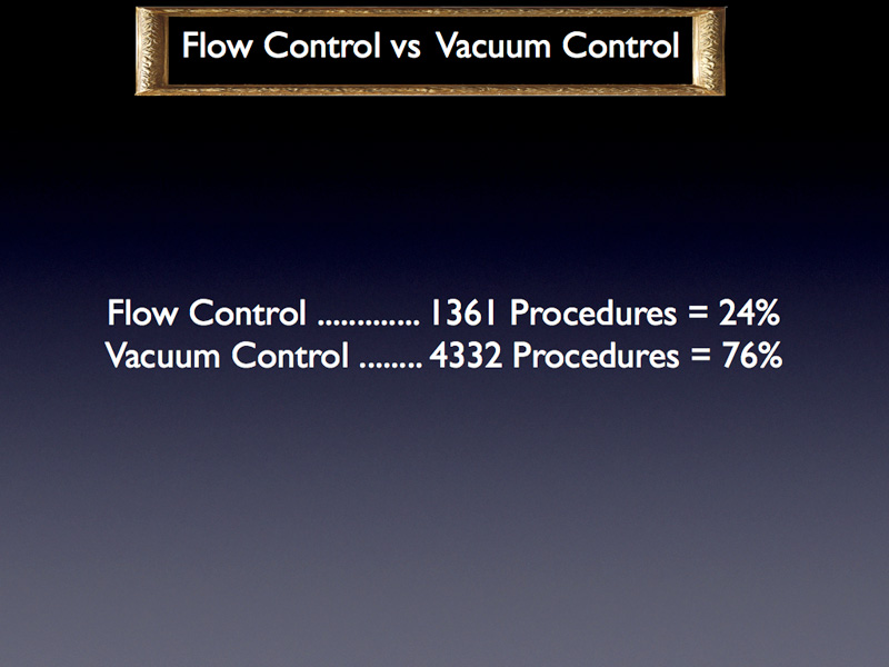 As far as the pump is concerned, a quarter of the surgeons use a flow control machine whereas the other 3 quarters only have access to or prefer a vacuum control machine.