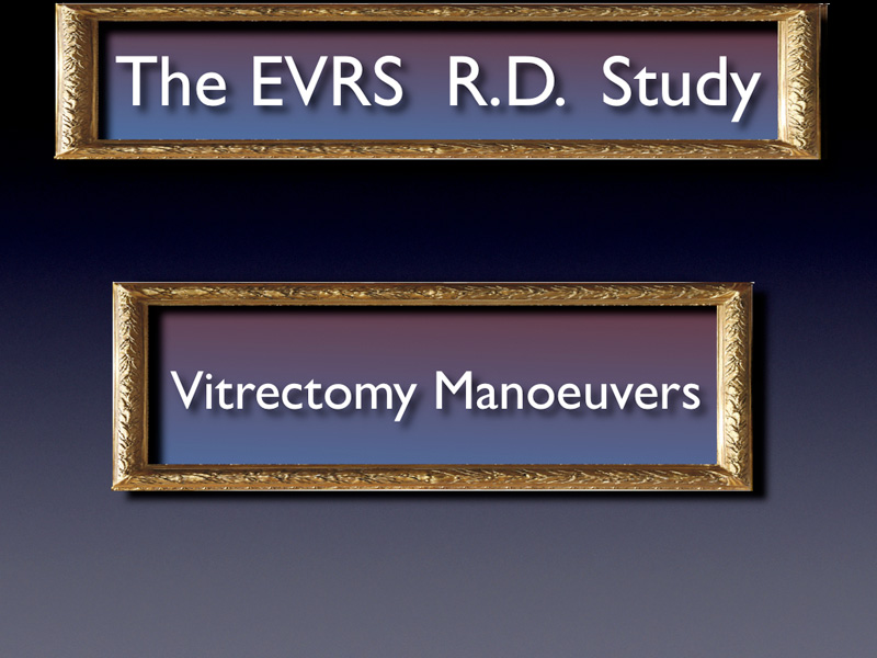 We now focus on vitrectomy maneuvers. The purpose of this presentation is more to describe which techniques are currently used among the surgeons community and to see what are the consequences on the failure rate.