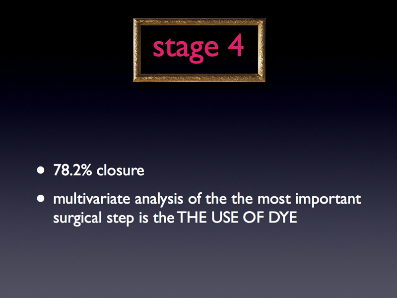 Even in stage 4, where the closure rate is 78.2%, running a multivariate analysis to study which are the best predictors to close chronic holes is THE USE OF A DYE.