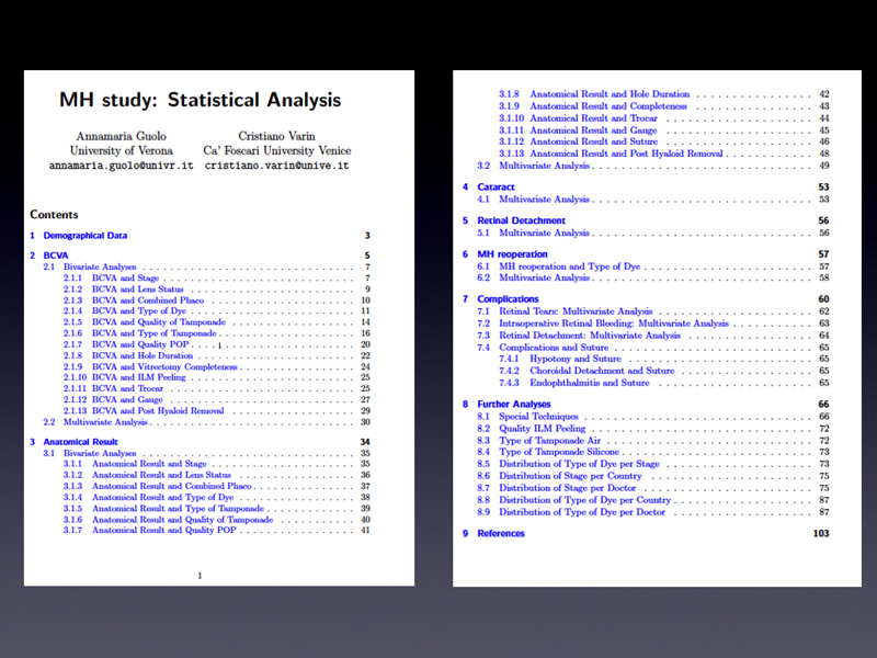 This is only the index of the statistical report, just to show you all the points that were studied.