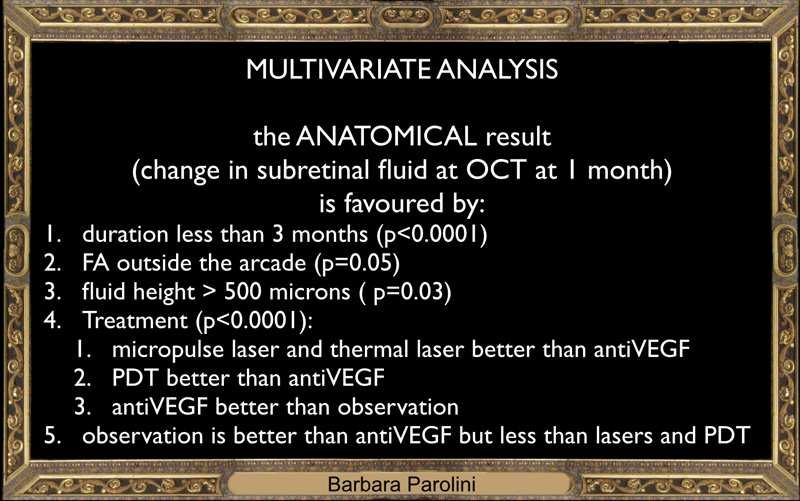 If we look at the multivariate analisys the positive predicting factors are: - short duration of the disease - involvement outside the arcades - height of fluid higher than 500 microns - the use of thermal laser, micropulse, pdt - here observation results better than anti-VEGF