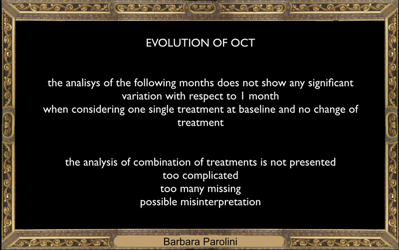 Evolution of OCT The analisys of the following months does not show any significant variation with respect to 1 month. When considering one single treatment at baseline and no change of treatment. The analysis of combination of treatments is not presented: - too complicated - too many missing - possible misinterpretation