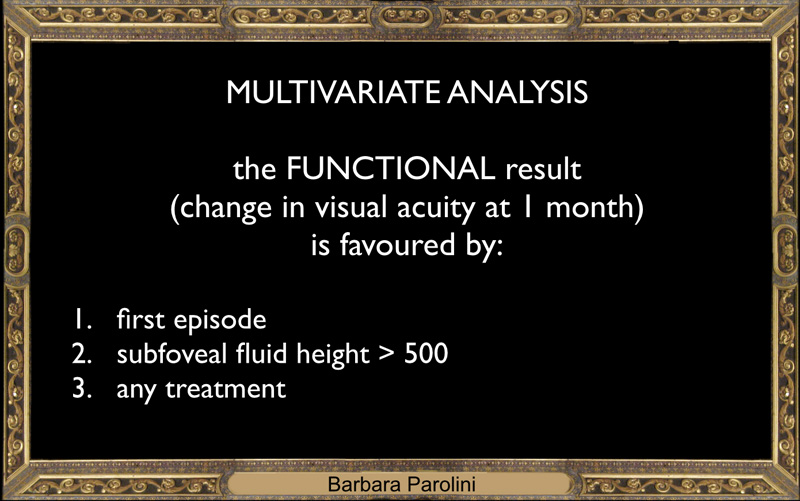 If we look at the multivariate analisys, the positive predicting factors are: - first episode - height of fluid higher than 500 microns - the choice of a treatment excluding observation